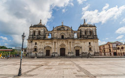 Leon cathedral. Frontal view of the cathedral on the central square of Leon, Nicaragua stock images
