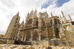 Leon Cathedral, camino de santiago road, Spain under blue sky Royalty Free Stock Photography