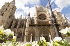 Leon Cathedral, camino de santiago road, Spain under blue sky Stock Image
