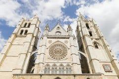 Leon Cathedral, camino de santiago road, Spain under blue sky Stock Photography
