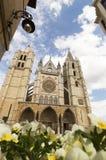 Leon Cathedral, camino de santiago road, Spain under blue sky Royalty Free Stock Photo