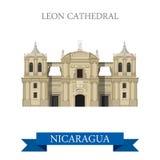 Leon Cathedral en señales planas de la atracción del vector de Nicaragua Imagenes de archivo