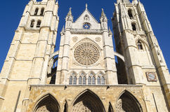 Leon cathedral. Facade of the Gothic Leon cathedral, Spain Stock Image