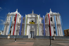 Leon cathedral in a festivity day. Leon, Nicaragua, Cathedral outdoors view during festivity Royalty Free Stock Photo