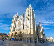 Leon Cathedral. Gothic Cathedral of Leon, Castilla Leon, Spain. Panorama Royalty Free Stock Photo