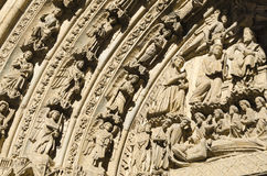 Leon cathedral. Gothic cathedral of Leon, detail of the front gate sculptures Royalty Free Stock Photos