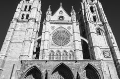 Leon cathedral. Gothic cathedral of Leon, facade, black and white Royalty Free Stock Photo