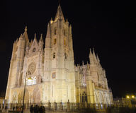 Leon cathedral by night. Night city landscape, Leon, Spain Stock Photography