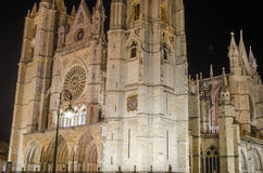 Leon cathedral by night. Night city landscape, Leon, Spain Stock Photos