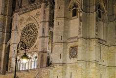 Leon cathedral by night. Night city landscape, Leon, Spain Stock Photo