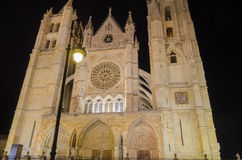 Leon cathedral by night. Night city landscape, Leon, Spain Royalty Free Stock Photography