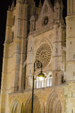 Leon cathedral by night. Night city landscape, Leon, Spain Stock Images