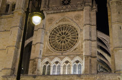 Leon cathedral by night. Night city landscape, Leon, Spain Royalty Free Stock Photos