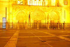 Leon Cathedral at sunset, Spain Royalty Free Stock Images