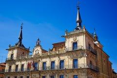 Leon city hall ayuntamiento in Plaza Mayor square. By Saint James Way Royalty Free Stock Photo
