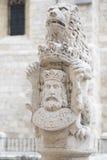 Leon decorating heraldic stone Stock Image