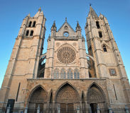 Leon gothic cathedral with rose window Royalty Free Stock Photos