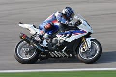 Leon Haslam BMW S1000 Eisenbahn - BMW Motorrad Motorsport Stockbild