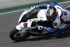Leon Haslam BMW S1000 RR - BMW Motorrad Motorsport. Leon Haslam rider BMW in the world Superbike Championship SBK Misano Royalty Free Stock Images