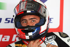 Leon Haslam #91 sur Honda CBR1000RR avec le Superbike WSBK de Pata Honda World Superbike Team Photographie stock libre de droits