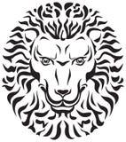 Leon head, architecture or decor detail. King of animal, black  and white  image, tattoo, Stencil, cliche, logo, trafaret, zoo, wildlife Stock Image