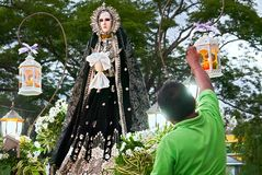 Statue of Mother Mary, Mater Dolorosa, at a procession, Leon royalty free stock images