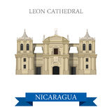 Leon katedra w Nikaragua przyciągania wektorowych płaskich punktach zwrotnych ilustracja wektor