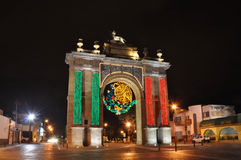 Leon Mexico. The famous Arch of Leon looks like this for the celebration of the Mexican Independence. As part of that celebration in several places there are royalty free stock photos