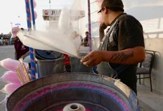 Leon, Mexico-January 13, 2017:Cotton Candy Maker Royalty Free Stock Images
