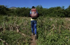 Leon, Nicaragua-December 26, 2017: A guide hiking up a volcano Stock Image