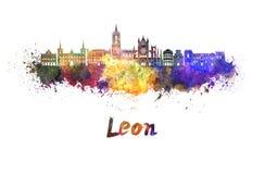 Leon-Skyline im Aquarell lizenzfreie abbildung