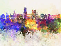 Leon skyline in watercolor Royalty Free Stock Photo