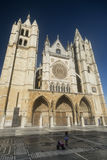 Leon Spain: cathedral exterior Royalty Free Stock Images