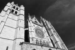 Leon Spain: cathedral exterior Royalty Free Stock Photography