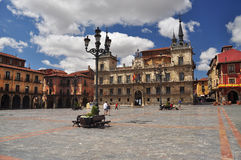 Leon, Spain. Central square. City of Leon, Castile region, Spain. Typical spanish Plaza Mayor (central square stock photo