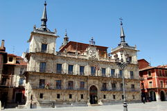 Leon, Spain: City Hall in Plaza Mayor. Facade of the Renaissance City Hall with its twin spires is the center piece of the historic Plaza Mayor square in Leon Stock Photo