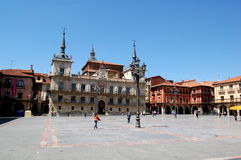 Leon, Spain: City Hall in Plaza Mayor. The Plaza Mayor is dominated by the elegant Renaissance City Hall with its twin towers and spires set in the center of the Stock Photography