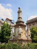 Leonado da Vinci Statue, Milan, Italy. Leonardo da Vinci statue, Piazza della Scala, opposite La Scala Opera House, central Milan, Italy stock photos