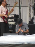 Leonard Cohen-Band, das in Lucca, am 9. Juli 2013 reharsing ist Lizenzfreie Stockbilder