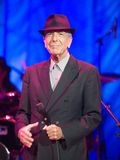 Leonard Cohen performs on stage at Sportarena. BUDAPEST - AUGUST 31: Leonard Cohen performs on stage Royalty Free Stock Image