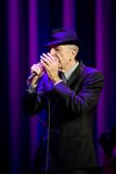 Leonard Cohen performs on stage at Sportarena Stock Image