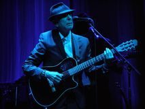 Leonard Cohen presteert in Florence 1.IX.2010 Royalty-vrije Stock Foto's