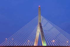 Leonard P. Zakim Bunker Hill Bridge at Night Royalty Free Stock Photos