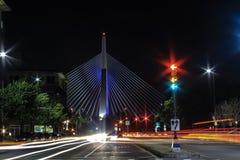 Leonard P Zakim Bunker Hill Memorial Bridge in Boston. Night photography in Boston of Leonard P Zakim Bunker Hill Memorial Bridge Stock Photos