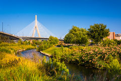 The Leonard P. Zakim Bunker Hill Memorial Bridge and a small cre Royalty Free Stock Image