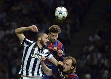 Leonardo Bonucci, Gerard Pique and Ivan Rakitic Stock Photo