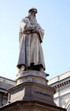 Leonardo Da Vinci. Statue of Leonardo Da Vinci in Milan, Italy stock photo