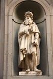 Leonardo da Vinci. Statue of Leonardo da Vinci in Uffizi Alley in Florence, Italy. Da Vinci was an Italian polymath: painter, sculptor, architect, musician stock photos