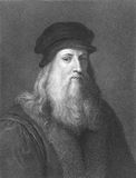 Leonardo Da Vinci. (1452-1519) on engraving from the 1800s. Italian polymath, scientist, inventor, painter, mathematician, engineer, anatomist, sculptor royalty free stock photo