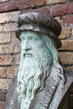 Leonardo Da Vinci. A marble carving of the inventor and painter, Leonardo Da Vinci stock image